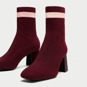 Zara Burgundy Striped Sock Ankle Booties